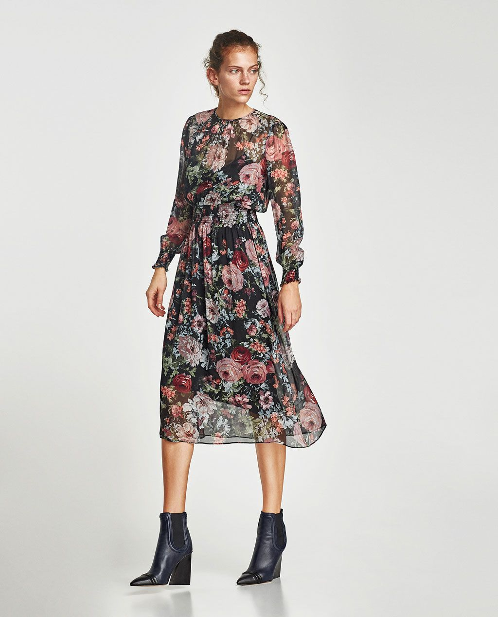 9433ec53b67b Zara printed floral midi dress black floral | Ladies Luncheon | Pink ...