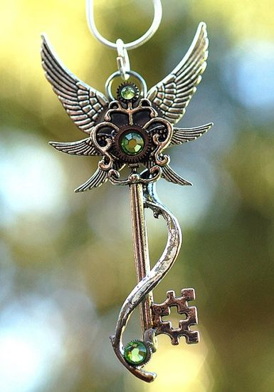 2 Steampunk Keys Bronze Key Pendants Skeleton Keys Key with Wings Unique Keys
