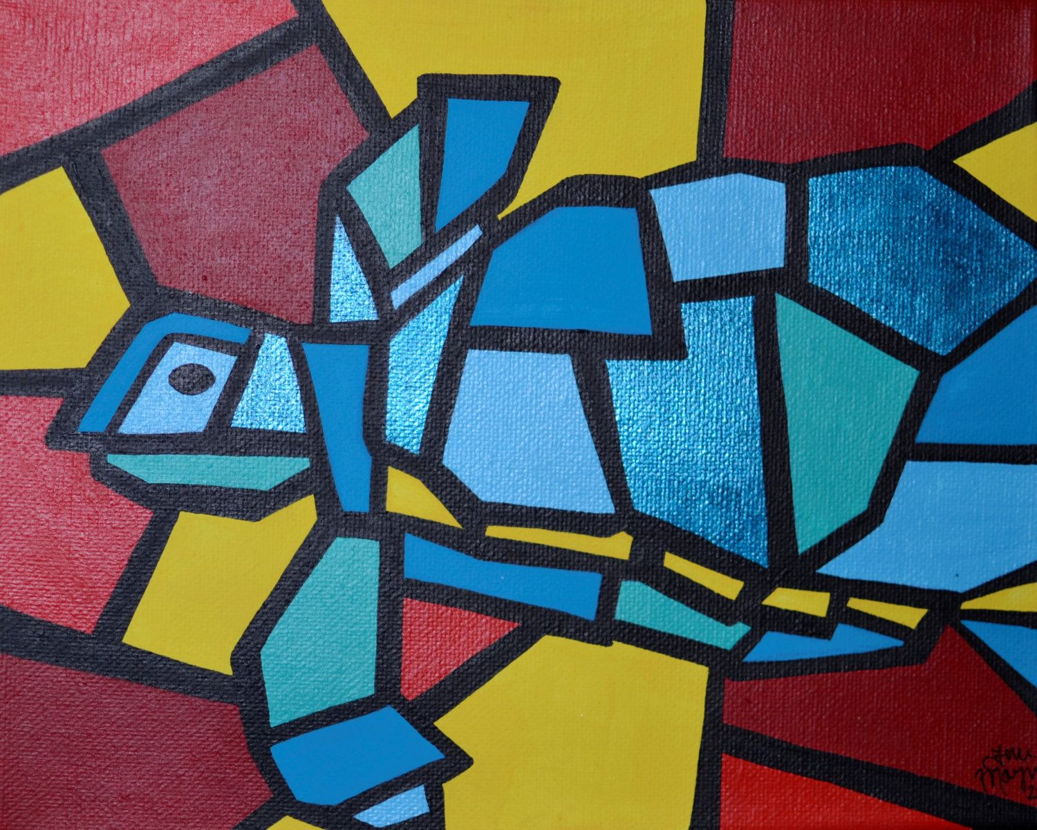 Cubism Turtle Painting, Colorful Acrylic Painting, 8x10 Inch ...