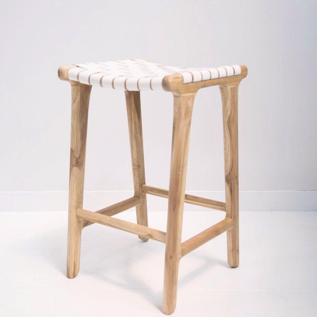 white leather weave bar stool  woven bar stools white