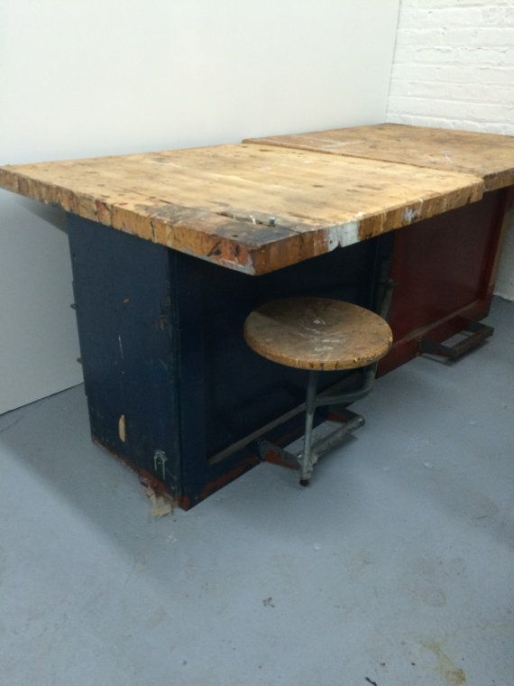 Etonnant Industrial Butcher Block Tables With Swing Out Stools