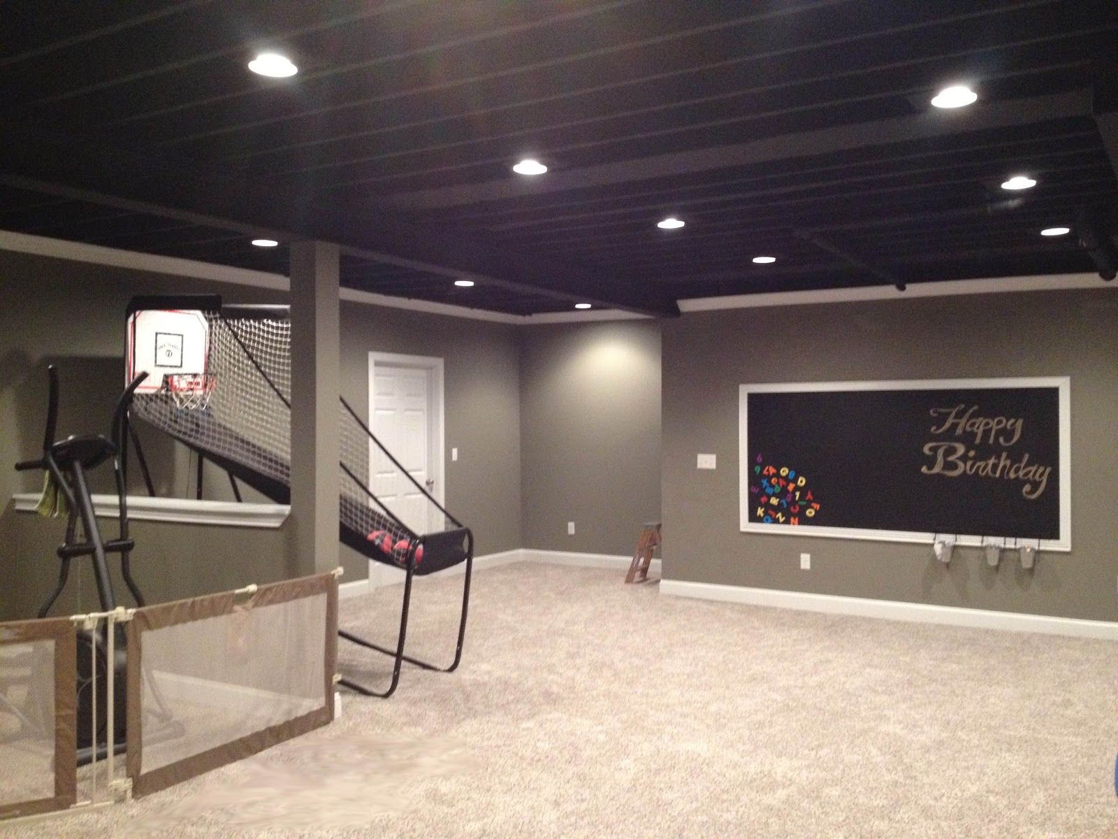 Bare bones basement google search basement ideas for Black ceiling basement ideas
