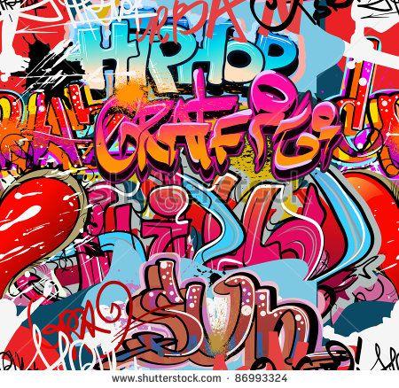 Graffiti Wall Vector Urban Hip Hop Background Graffiti Seni Huruf Seni Jalanan