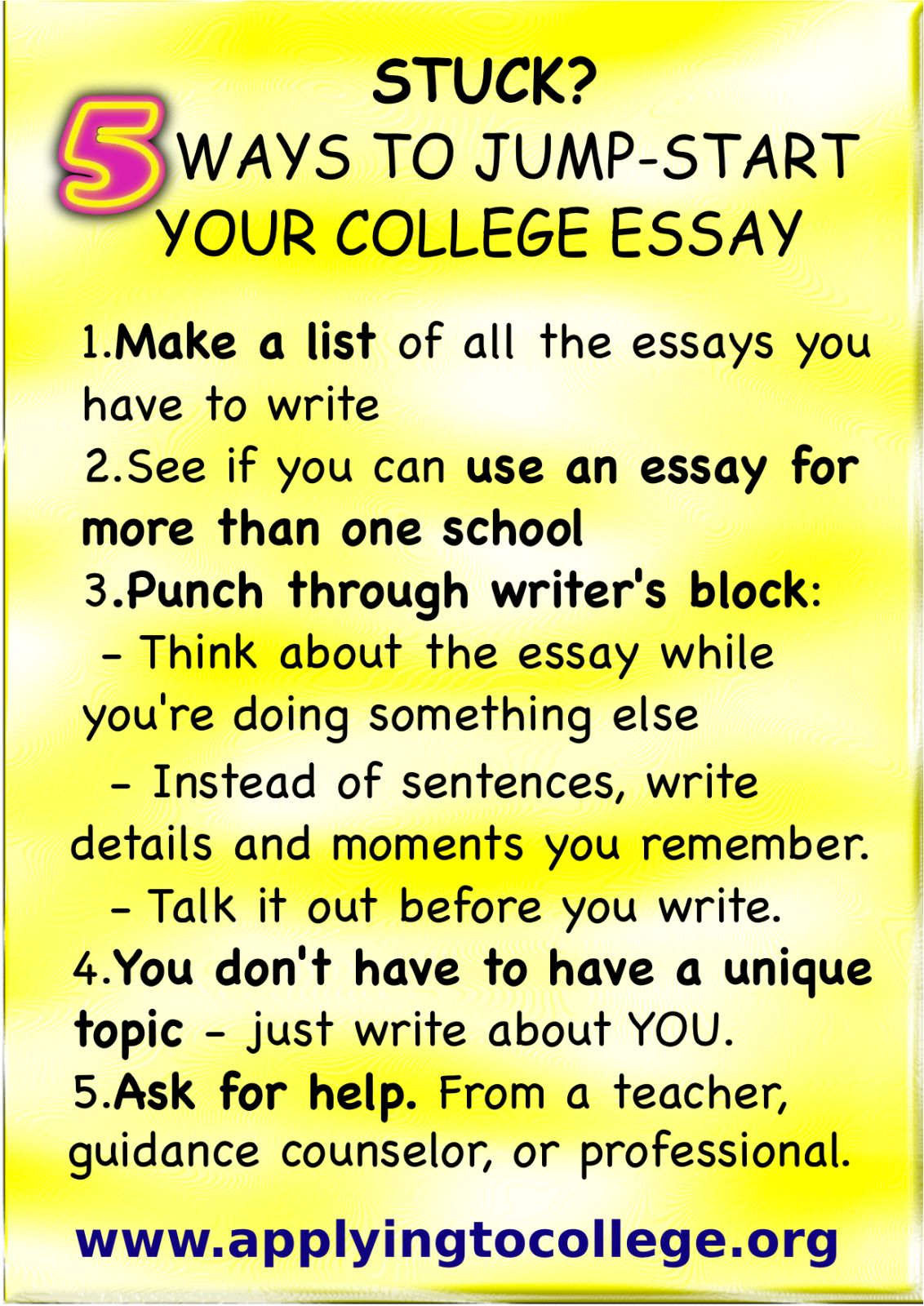 stuck  tips to jumpstart your college essay  college  college   tips to jumpstart your college essay