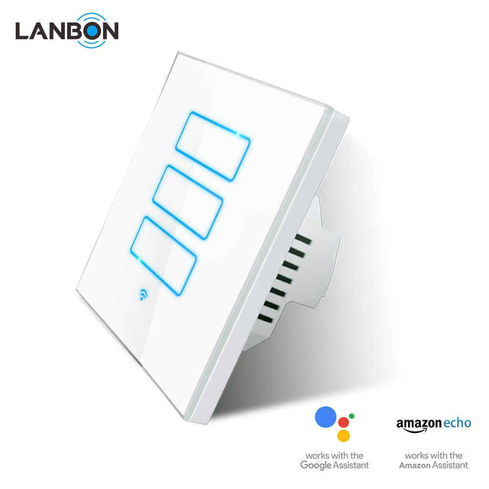 Lanbon Home Automation Wifi Switches Remote Led Light Smart Electric 3 Way Switch 110v 250v 8686mm Size Instead Sonoff 2