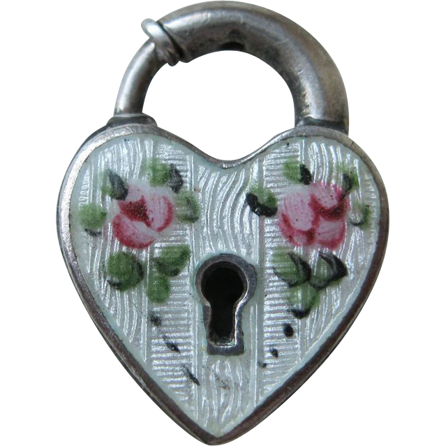 Vintage Sterling White Rose Guilloche Padlock Charm Clasp