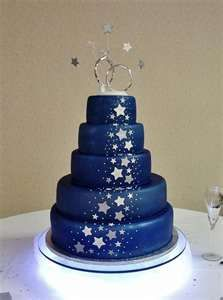 Midnight Blue Silver Stars I Want This To Be My Wedding Cake