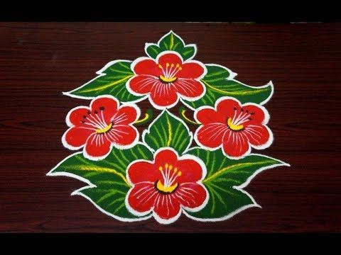 Beautiful Flower Rangoli Design Simple Rangoli Designs With 7x4 Dots Beginners Kolam Designs Youtube Easy Rangoli Designs Flower Rangoli Simple Rangoli