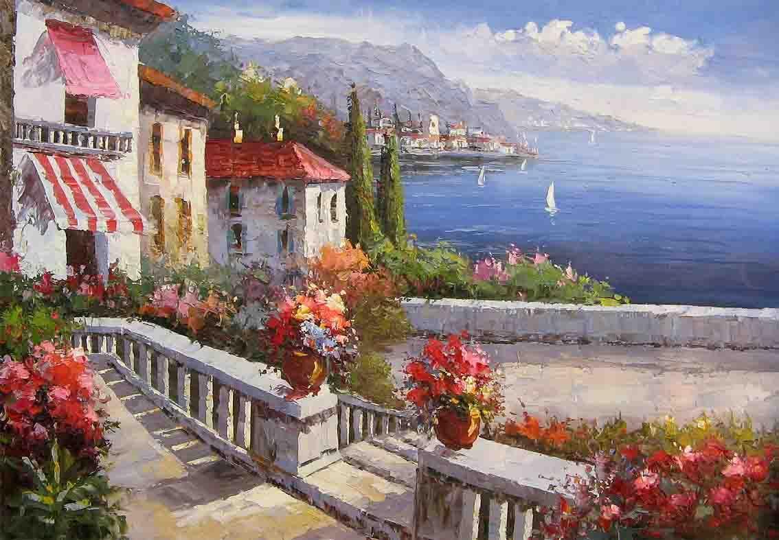 Mediterranean landscape mediterranean oil painting for Mediterranean garden