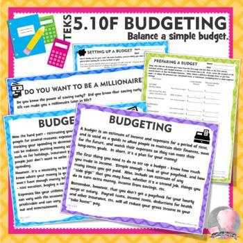 TEKS 510F Budgeting Personal Financial Literacy with Project