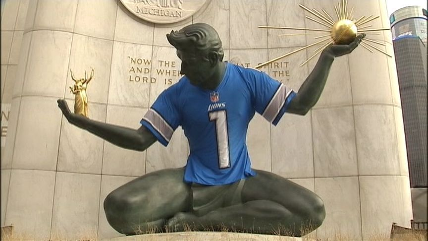 PHOTOS: Spirit of Detroit gets its Lions playoff jersey - Fox 2 News Headlines