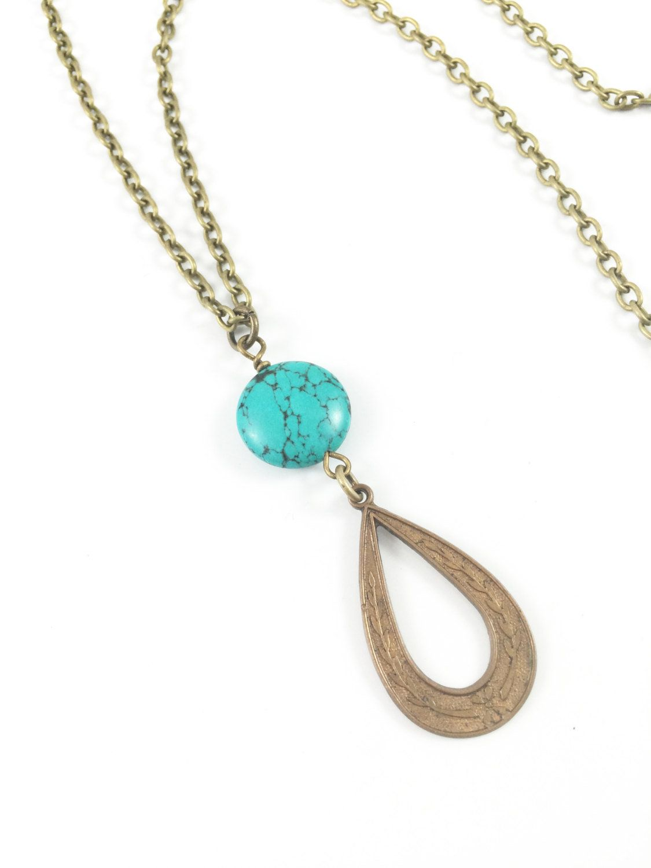 turquoise bohemian necklace pendant necklace boho necklace boho jewelry turquoise necklace bronze pendant necklace bohemian necklace