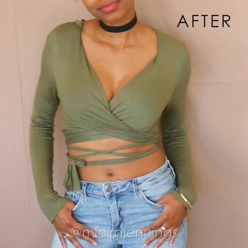 Easy DIY way to transform a regular long sleeve shirt into a trendy wrap & tie crop top with NO SEWING! ✂️  #DIY #nosew #clothes #thrift #summer #fashion #croptop