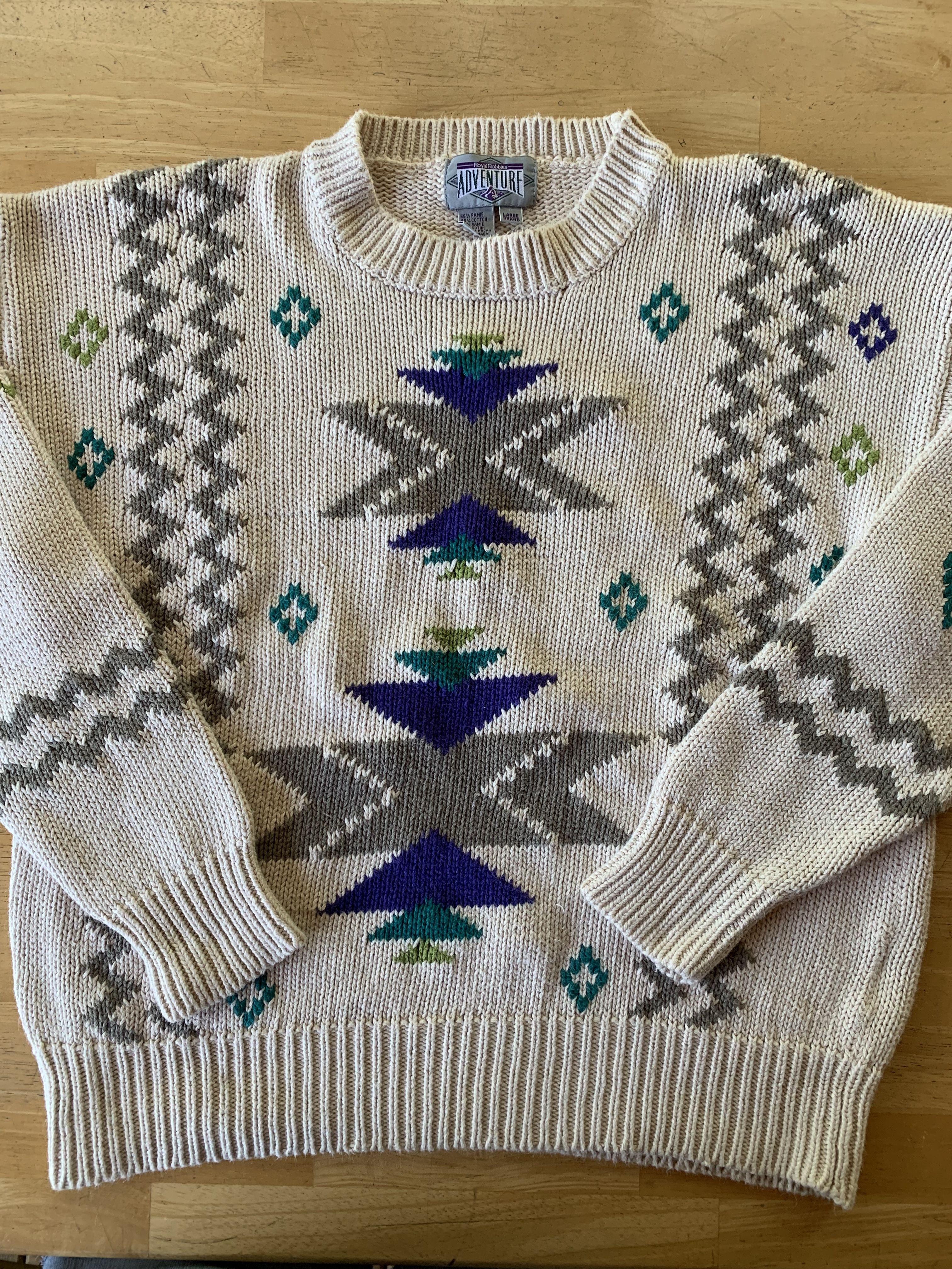 Vintage 80s 90s Geometric Pattern Heavy Knit Ski Sweater Size XL BEAUTIFUL