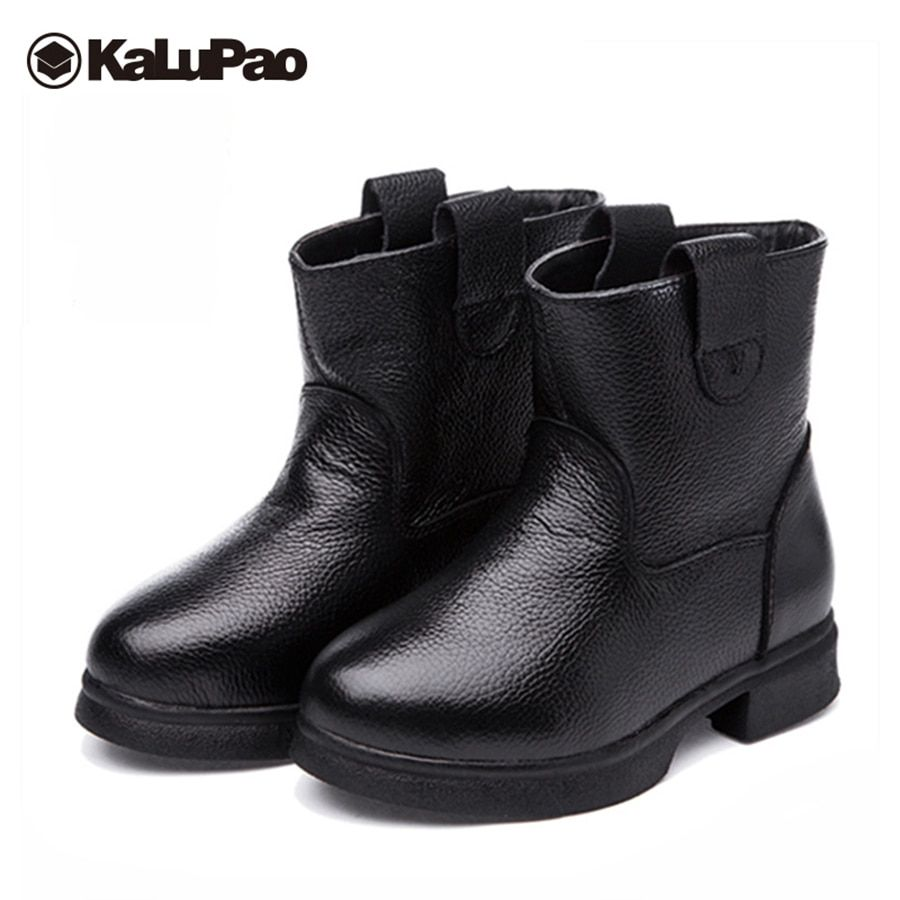 Kalupao genuine leather boots girls winter winter boots for boys girls  black red wool rubber snow shoes for boys girls 09e0a1d050fb