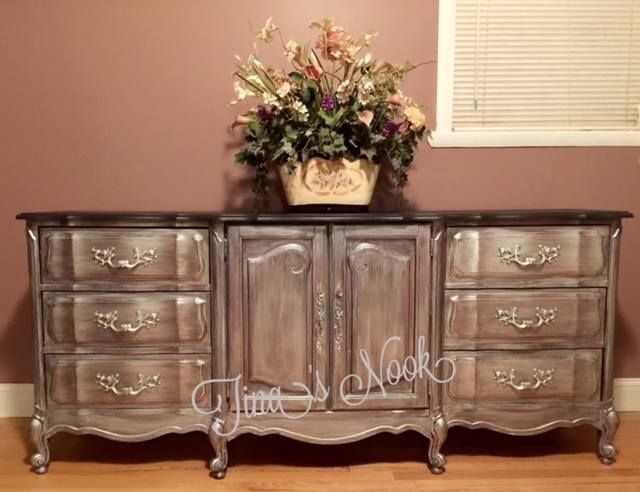 Hand Painted By Tina Grieco Stanko Ralph Lauren Metallic And Graphite