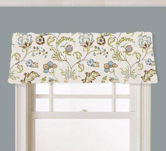 Kitchen Valance Floral Kaufmann Chic Steel Fabric Brown By JomaDesigns,  $42.00