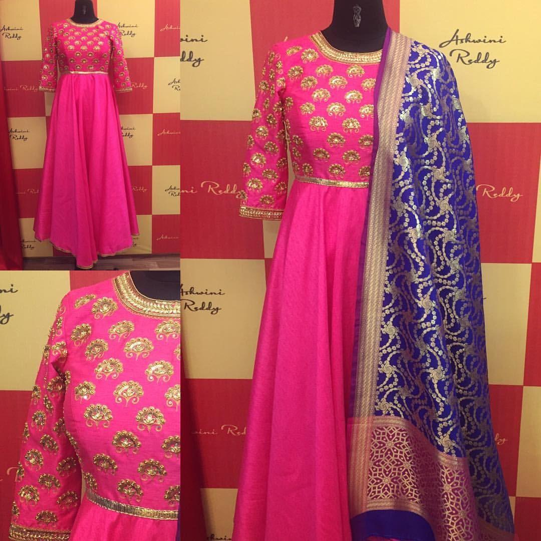 Our Favorite Color Combination Pink Navyblue Long Anarkali With Zari Brocade Tta Get Your Colors Custom Designed Ps Ashwinireddy Arbride 28