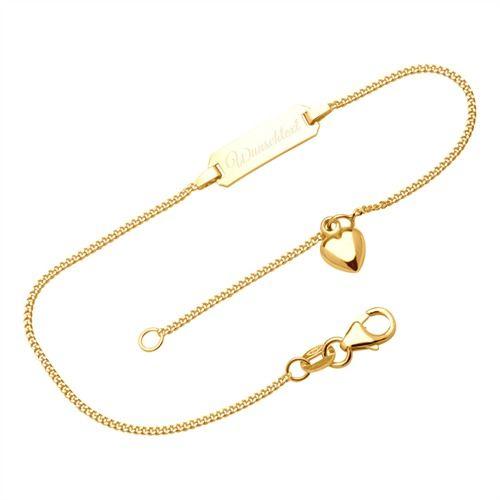 Romantisches Armband Herzanhänger 375er Gold ID1029-G-SL #gold #375er gold #unique #thejeweller #armband #bracelet