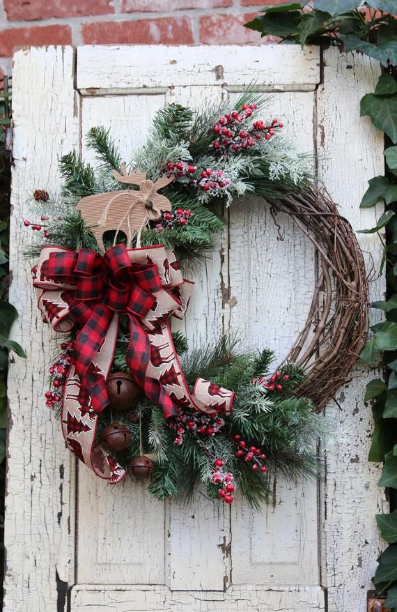 Photo of Farmhouse Winter wreath for Front Door, Moose & Buffalo Check Lodge Cabin decor, Winter door wreath, Rustic Country Christmas Decor