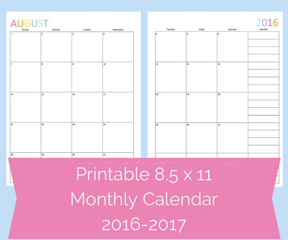 2017 Calendar, Printable 2017 Calendars, Printable Monthly
