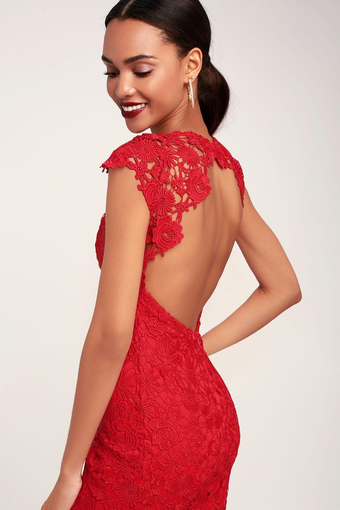 Romance Language Red Backless Lace Dress Backless Lace Dress Red Lace Long Sleeve Dress Red Peplum Dresses