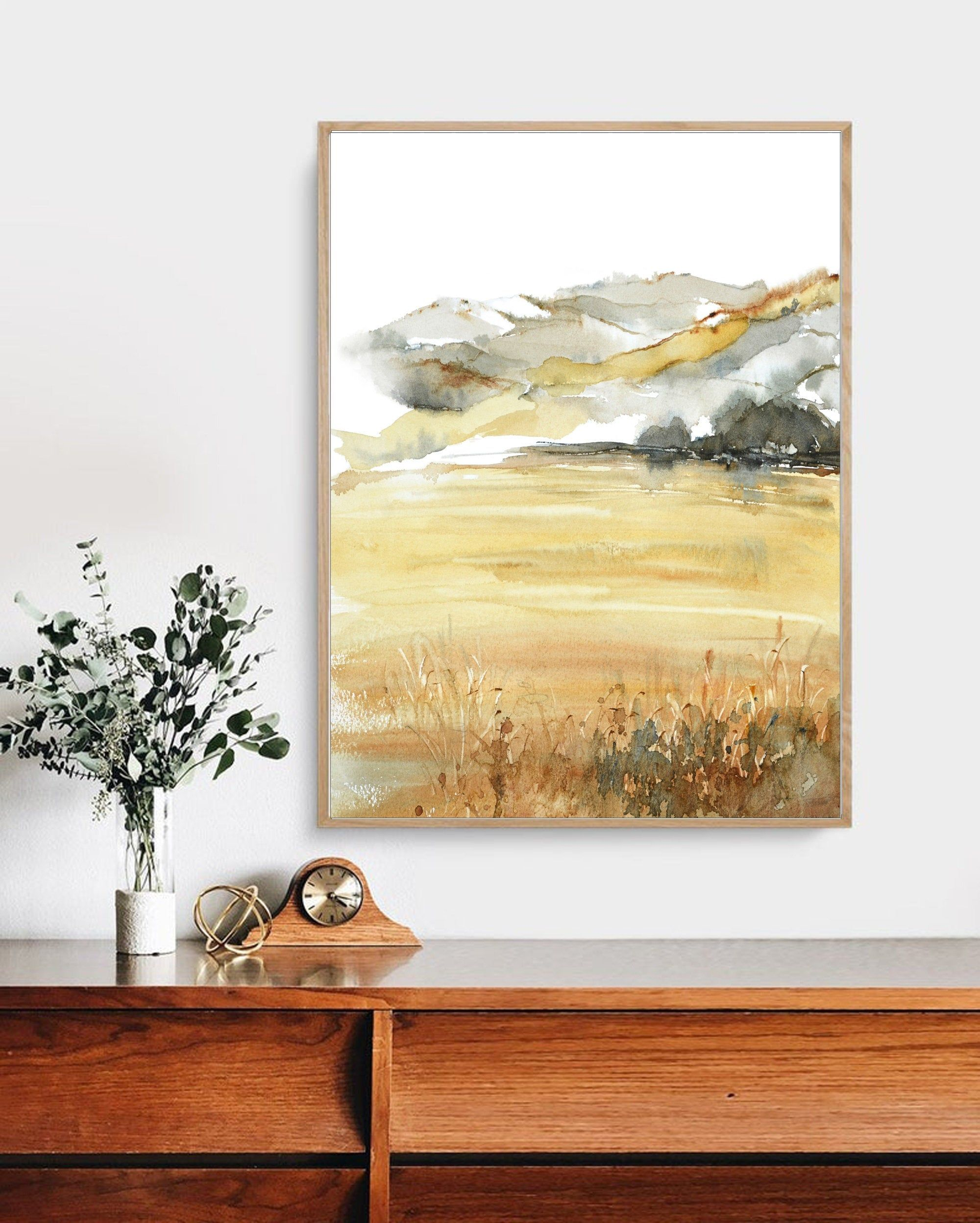 English Countryside Print Decor Meadow Print Art Landscape Etsy In 2020 Watercolor Wall Art Painting Watercolor Walls