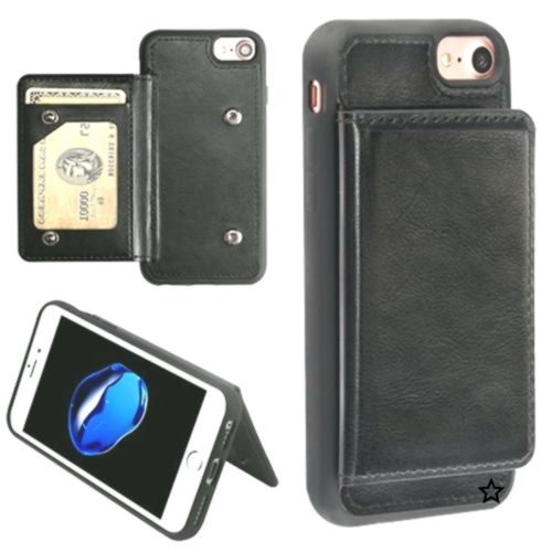 iPhone 8 Black Flip Wallet Executive Protector Cover TPU Case with Snap Fastenerswith Package