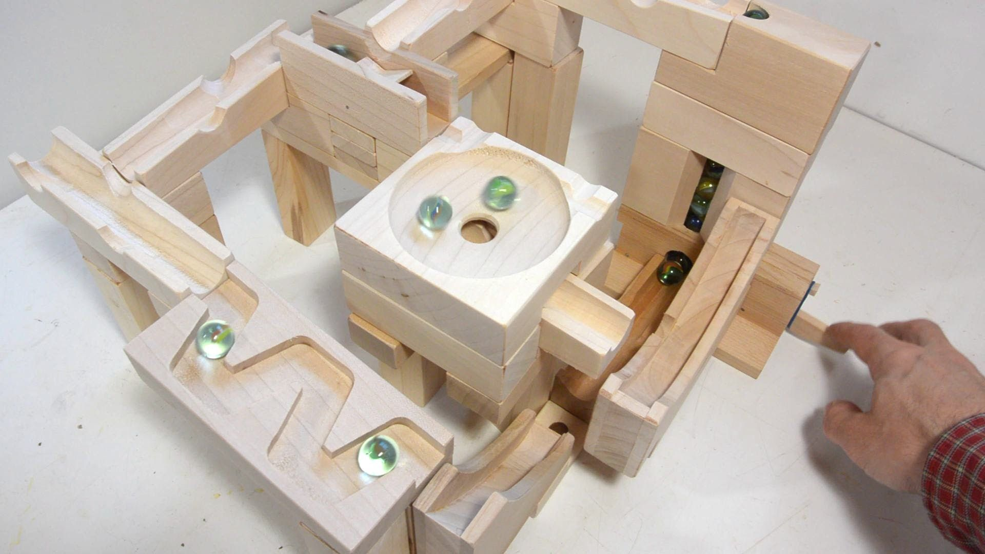 Hand Made Wood Marble Blocks Awesome Extras Including A Marble Pump To Get Marbles From End Back To Start And Marble Dr Marble Run Marble Machine Marble Toys
