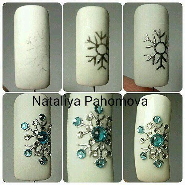 Uña snowflake | Unghii iarna | Pinterest | Para pintar uñas, Diseños ...