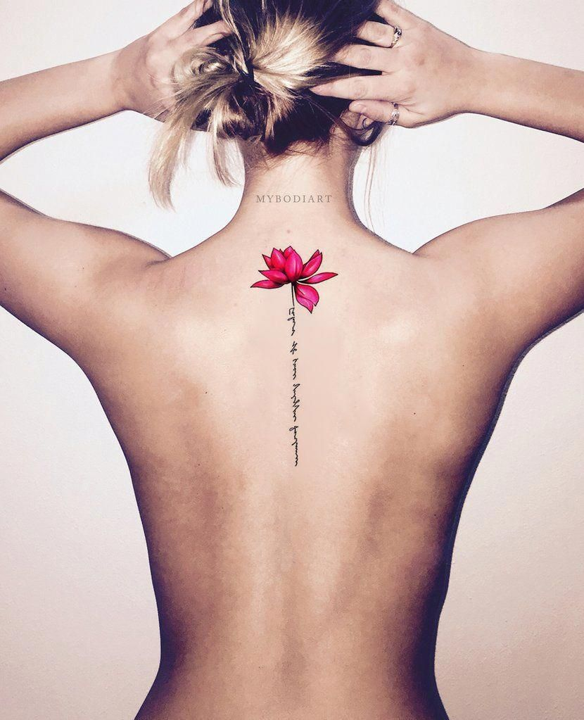 Cute Watercolor Pink Lily Lotus Script Quote Spine Tattoo Ideas For Women Back Floral Flower Tatto Tattoos For Daughters Spine Tattoos For Women Foot Tattoos