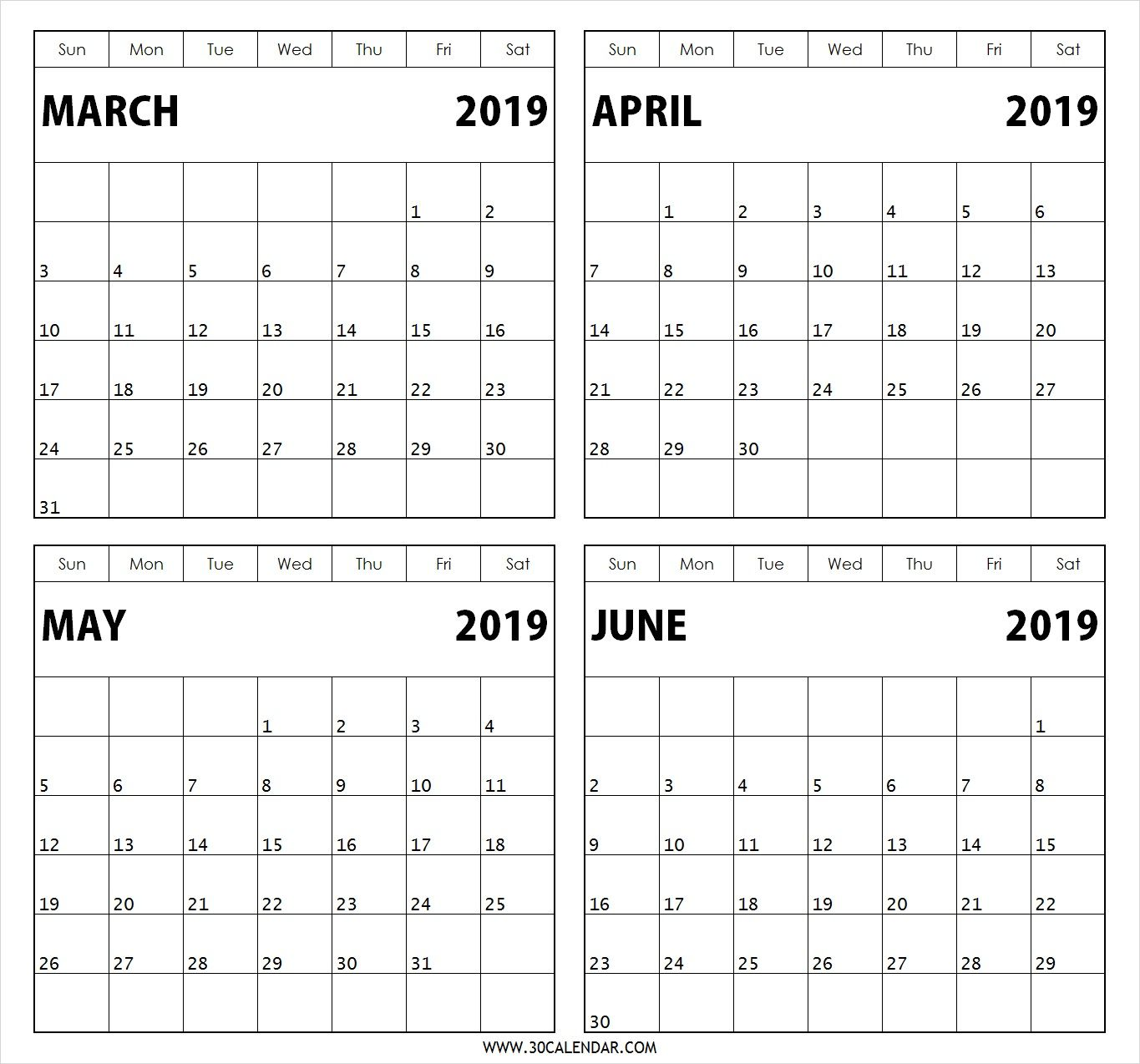 4 Month March April May June 2019 Calendar Calendar Printables Free Calendar Template Calendar Template
