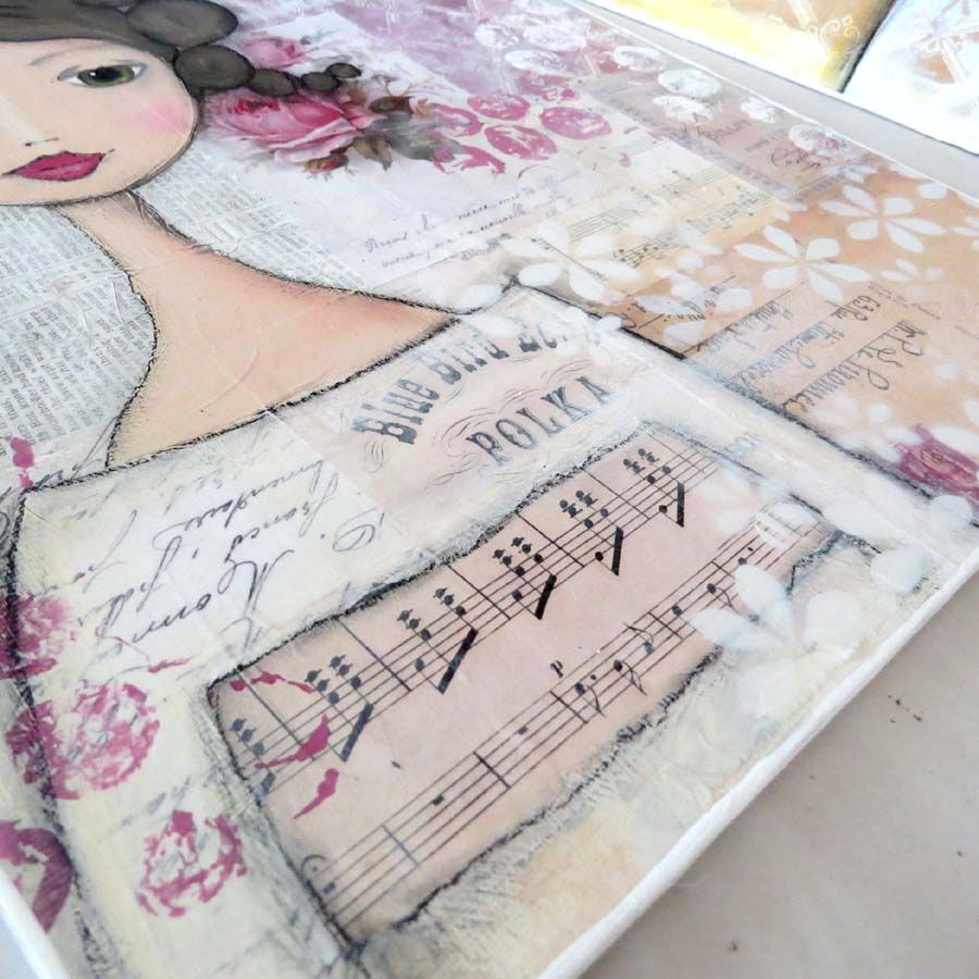 Putting the finishing touches to this girl's dress! jane austen inspired shabby chic mixed media art.