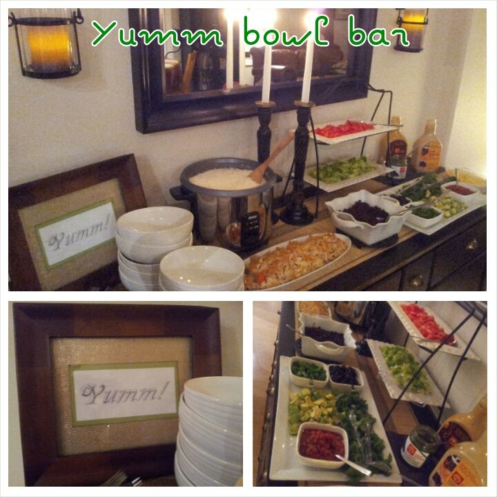 Yumm bowl bar.  Easy, healthy, tasty and crowd pleasing.  We did this for our last game night and it was a hit.  Looking forward to doing it again.