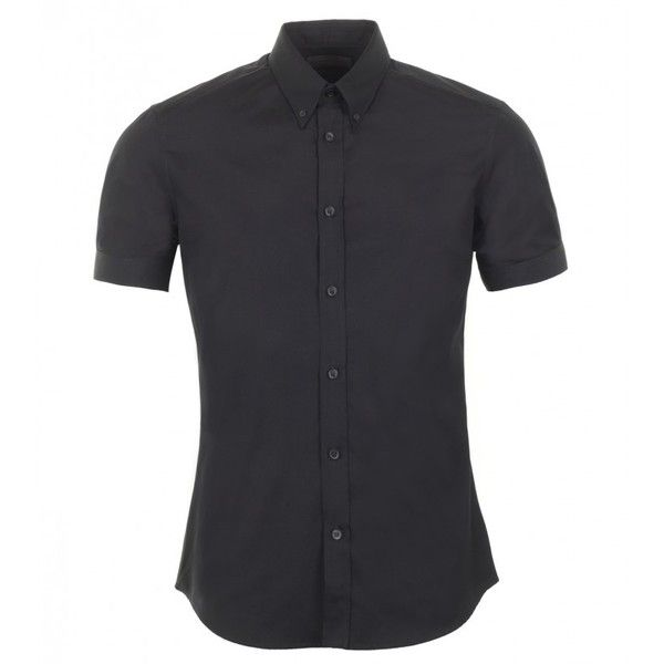 Alexander McQueen Black Cotton Short Sleeve Shirt (€215) ❤ liked on Polyvore featuring men's fashion, men's clothing, men's shirts and men's casual shirts