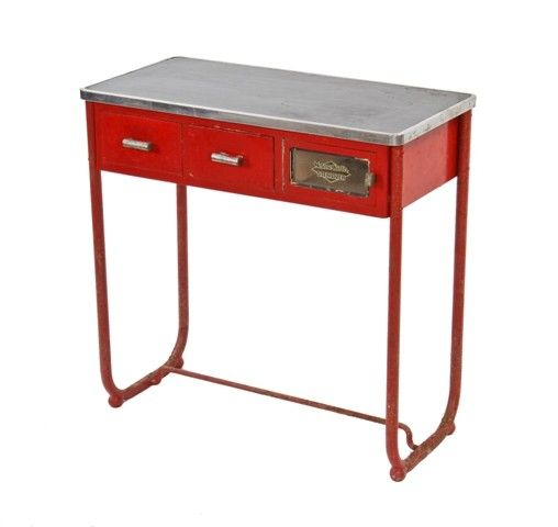 """c. 1930's american machine age """"helene curtis chrome"""" tubular metal barbershop workstation with black formica tabletop - national mineral company, chicago, il."""