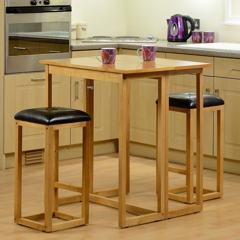Wooden Breakfast Bar Stools Table Set Furniture Small Kitchen ...