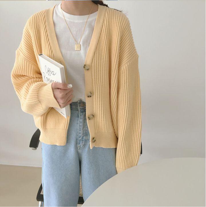 Photo of Czarine Long-Sleeve Plain Ribbed Knit Cardigan | YesStyle
