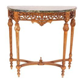Antique Oak And Marble Entry Table With Fluted Legs Product Tableconstruction Material Oak And Marblecolor Brown And Greendim Entry Table Side Table Table