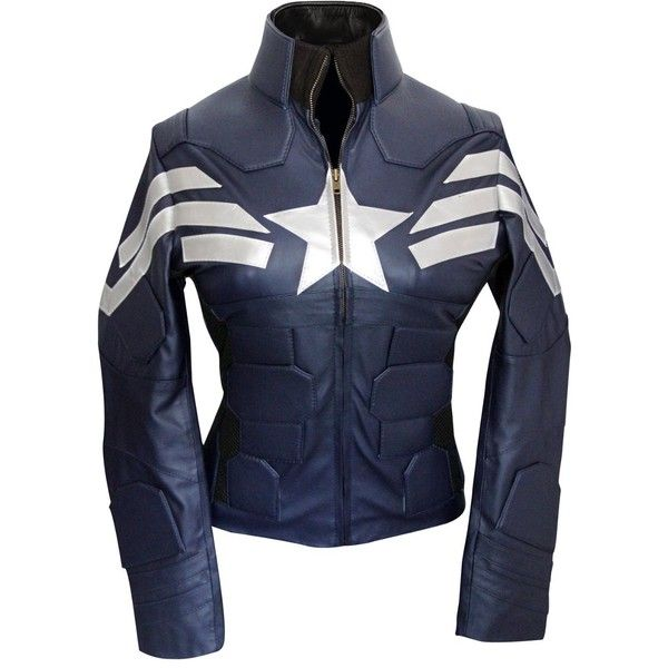 Outfitmakers Women's Captain Star American Jacket ($144) ❤ liked on Polyvore featuring outerwear, jackets, marvel, avengers, captain america, american jacket, star jacket and blue jackets
