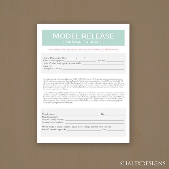 Grab this model release form template for your photography - model release form in pdf