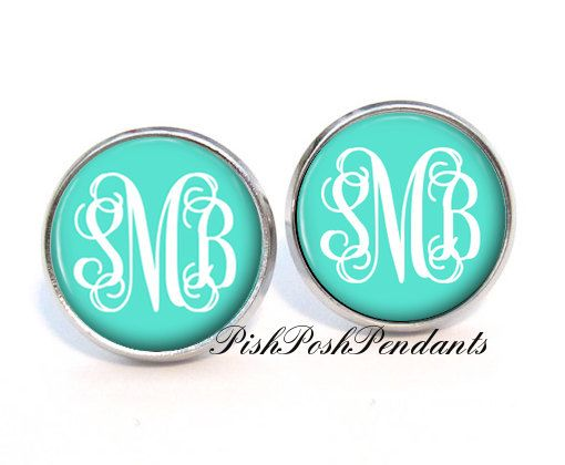 Tiffany Blue Monogram Earring Stud By Pishposhpendants 8 95 This Is Favorite Jewelry Boutique