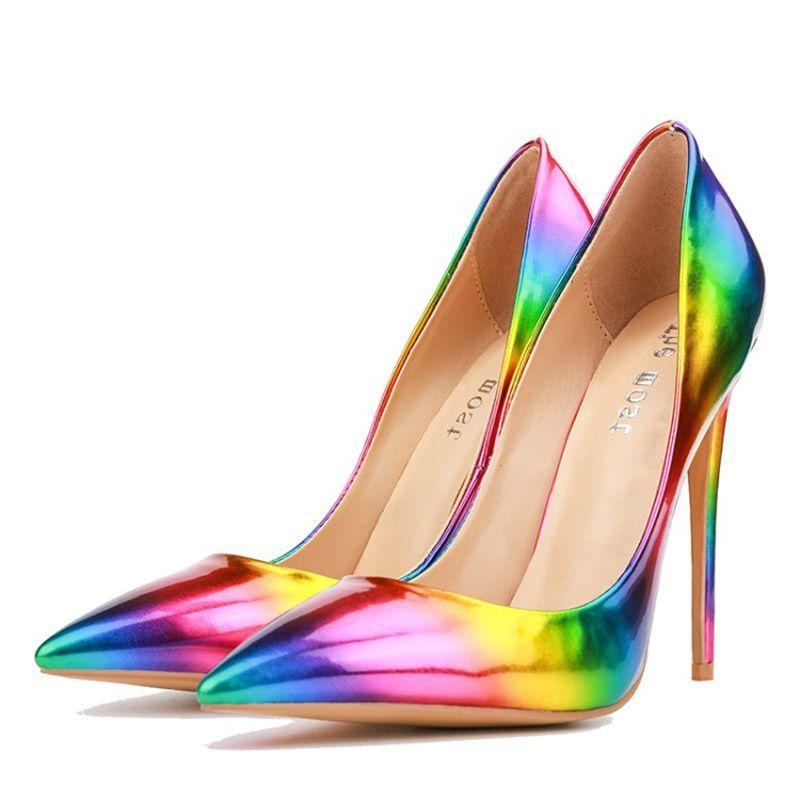 0f1e193f072 Colourful Slip-On Pointed Toe Stiletto Heels