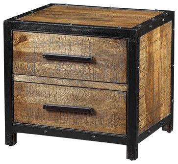 Delia Night Table Made Of Mango Wood With Black Metal Contour Nightstands And