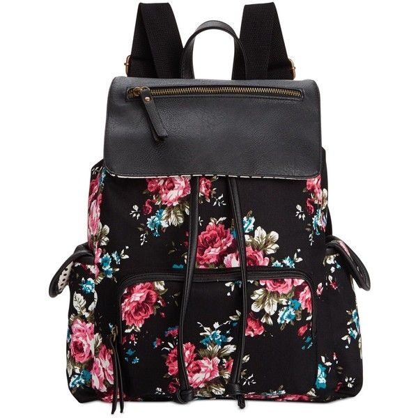 Madden Girl Btrender Backpack (£19) ❤ liked on Polyvore featuring bags, backpacks, accessories, bolsos, madden girl, pink bag, floral print backpack, pink backpack et pocket backpack