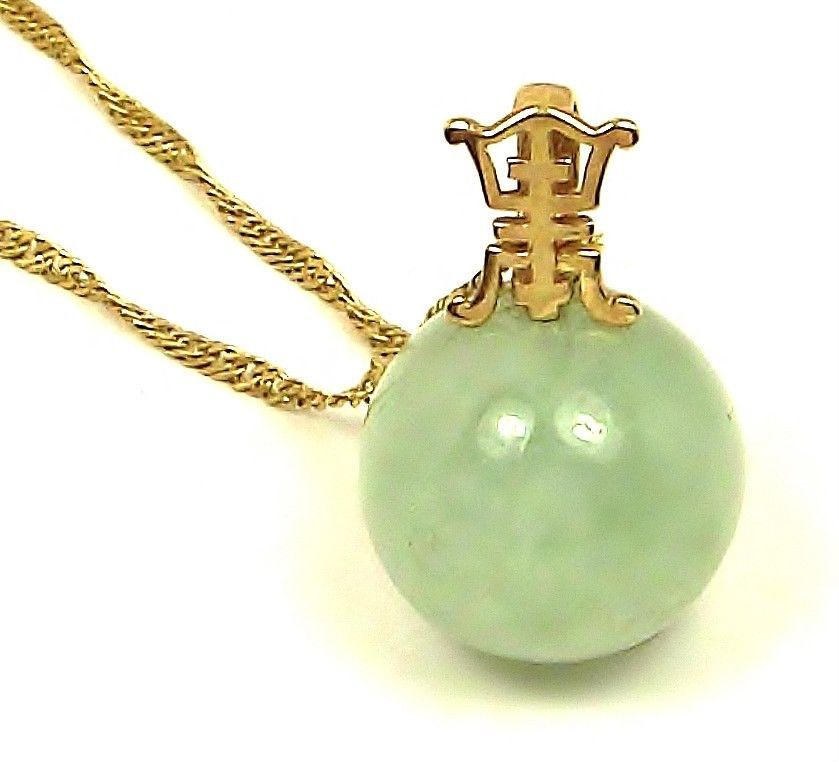14k Yellow Gold Chinese Joy Symbol Green Nephrite Jade Pendant Qgi