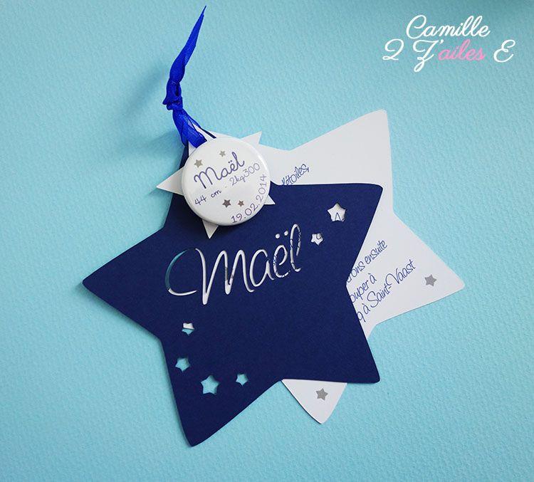 Souvent faire-part étoile magnet bleu nuit blanc 3 | jolie faire part  UB89