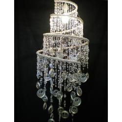Upcycled tin and bead chandelier