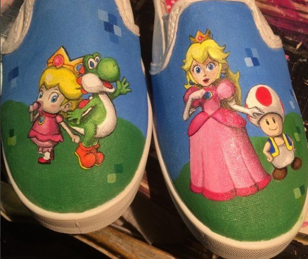 38eb634fe35 Custom hand painted shoes - Nintendo Mario Princess Peach Yoshi Toad themed  fandom related gear   accessories by samslostshoe Follow the link to  request ...