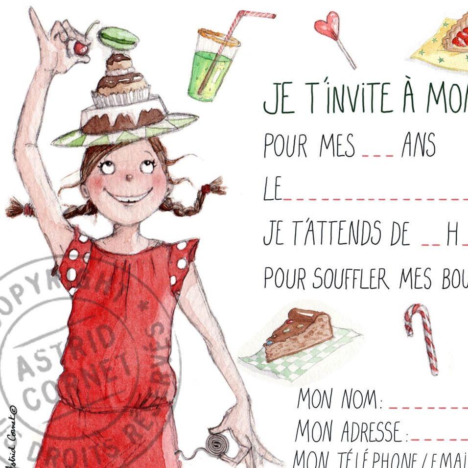 8 cartes d 39 invitation illustr e pour un anniversaire de fille avec enveloppes c 39 est la f te - Carte anniversaire petite fille ...